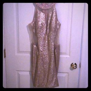 Dresses & Skirts - Gold evening sequin dress.